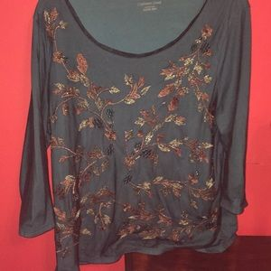 Woman's turquoise with fall leaves mesh blouse
